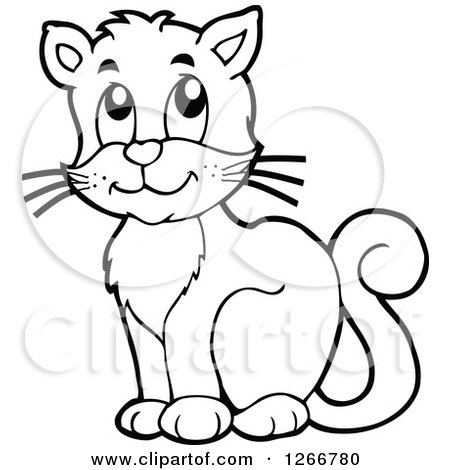 450x470 Clipart Of A Black And White Happy Cat Sitting