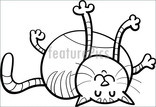 500x344 Happy Cat Coloring Page Stock Illustration I5228428