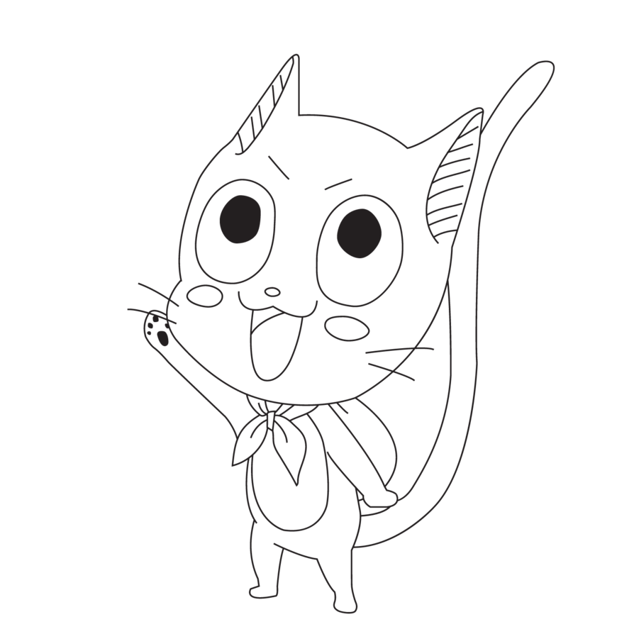 894x894 Happy The Cat Line Art [Fairy Tail] By Mrphen