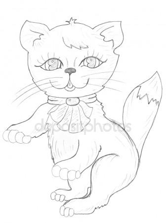 336x450 Happy Cat Drawing Stock Photo Nadyaus