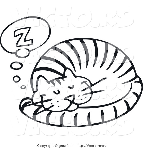 600x620 Vector Line Drawing Of A Happy Cat Sleeping Comfortably By Gnurf