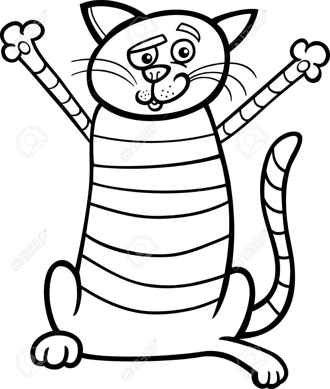 1103x1300 Black And White Cartoon Illustration Of Happy Tabby Cat