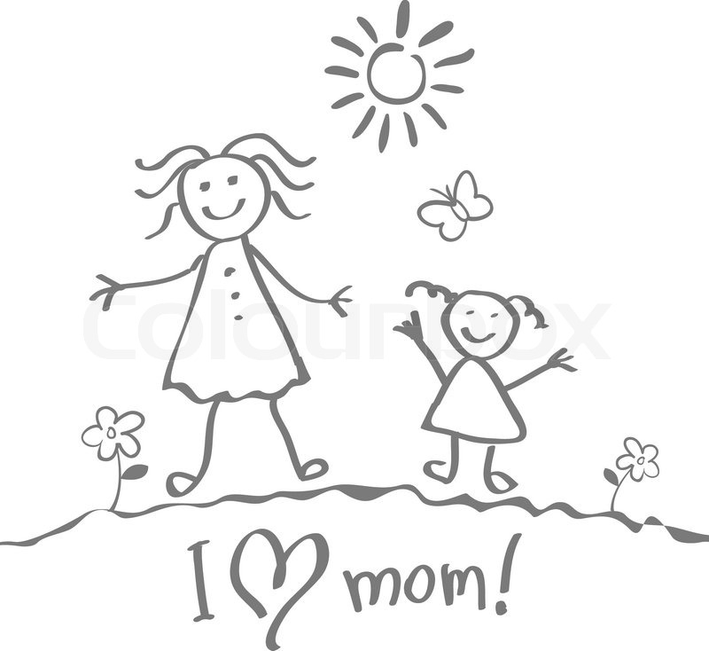 800x734 Kids Drawing. The Mother's Day Vector Heart Art Happy Stock