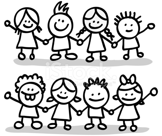 525x440 Lineart Happy Children Friends Group Holding Hands Cartoon Illus