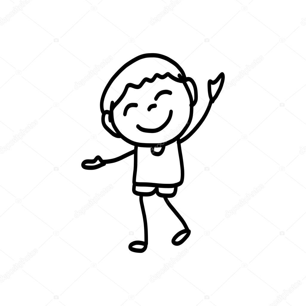 1024x1024 Hand Drawing Happy Kids Stock Vector Atthameeni