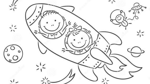 570x320 Space Drawing For Kids Image Of Happy Children. Space Journey