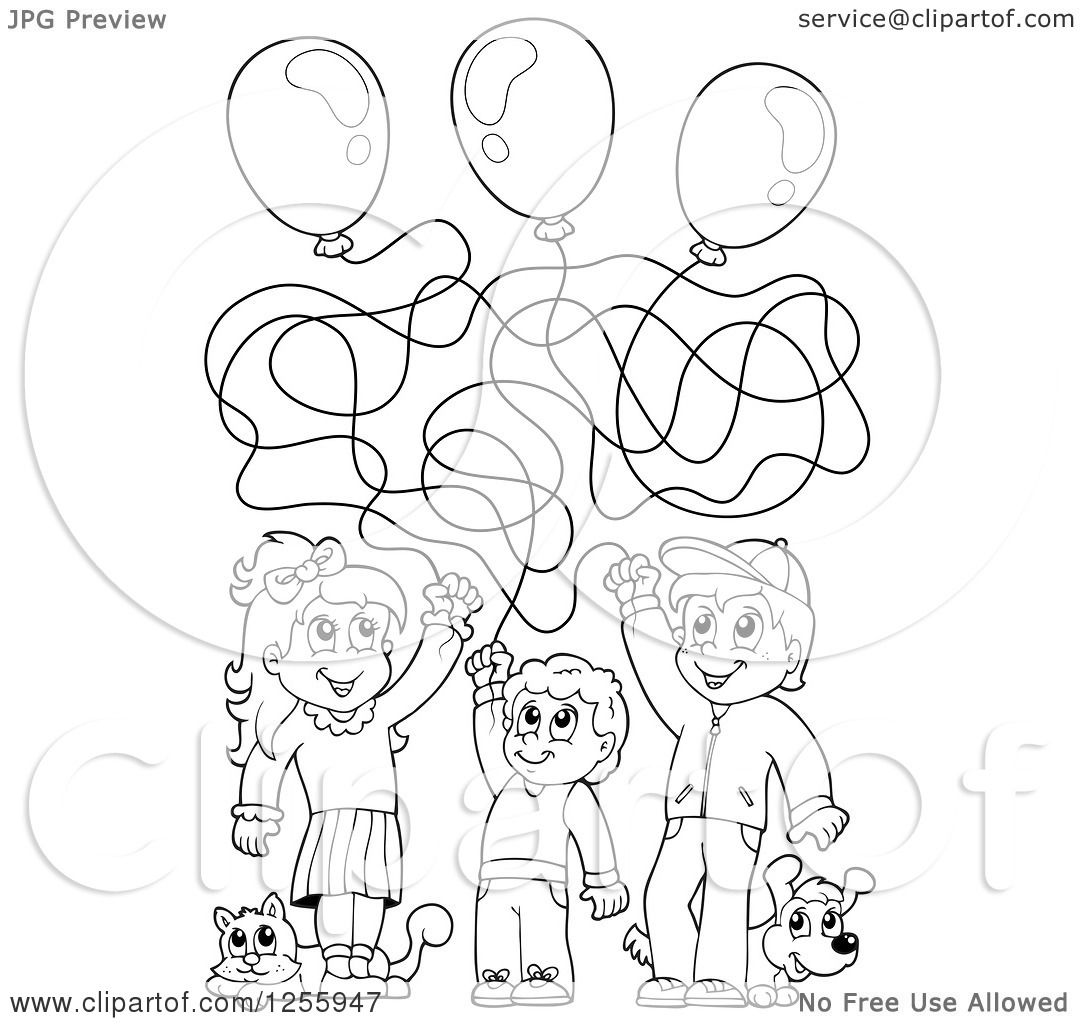 1080x1024 Clipart Of Blacknd White Happy Children Playing With Balloons