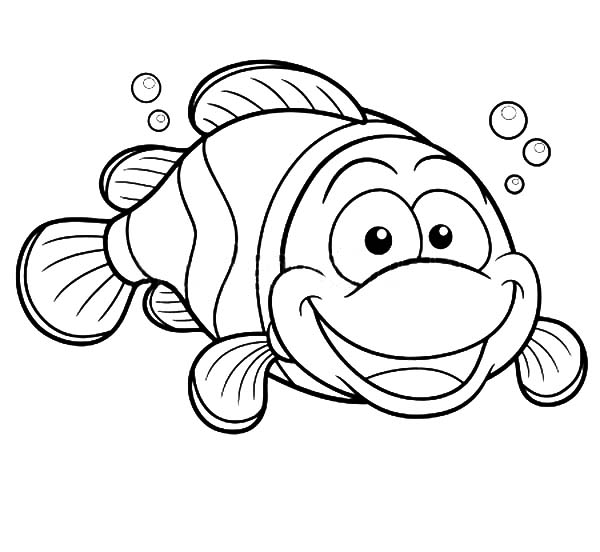 600x552 Happy Clown Fish Coloring Pages Best Place To Color