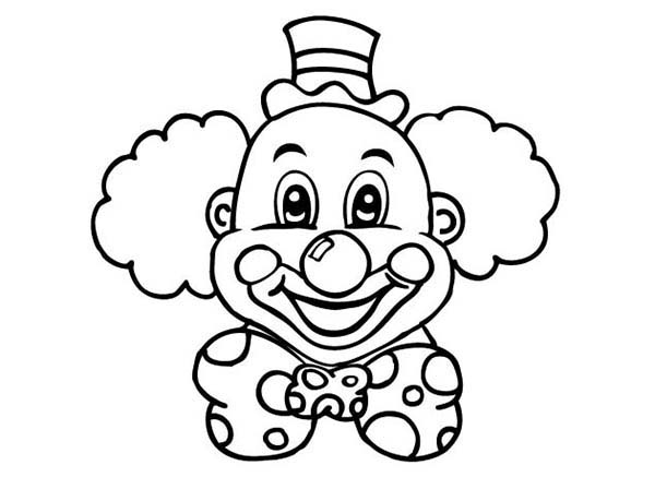 600x448 Laughing Clown Head Coloring Page Color Luna