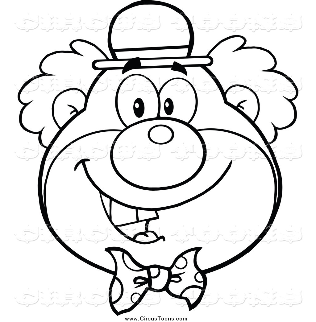 1024x1044 Circus Clipart Of A Black And White Happy Clown's Face By Hit Toon