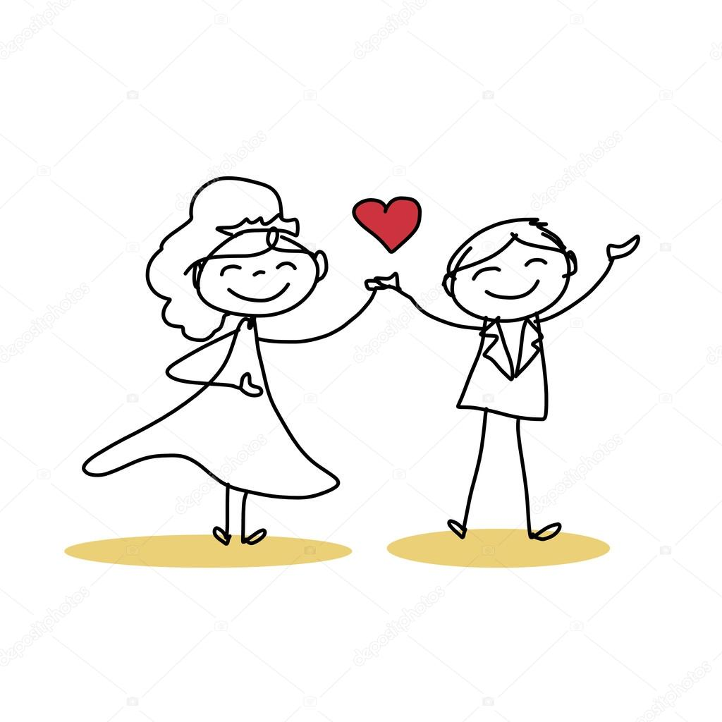 1024x1024 Hand Drawing Cartoon Of Happy Wedding Couple Stock Vector