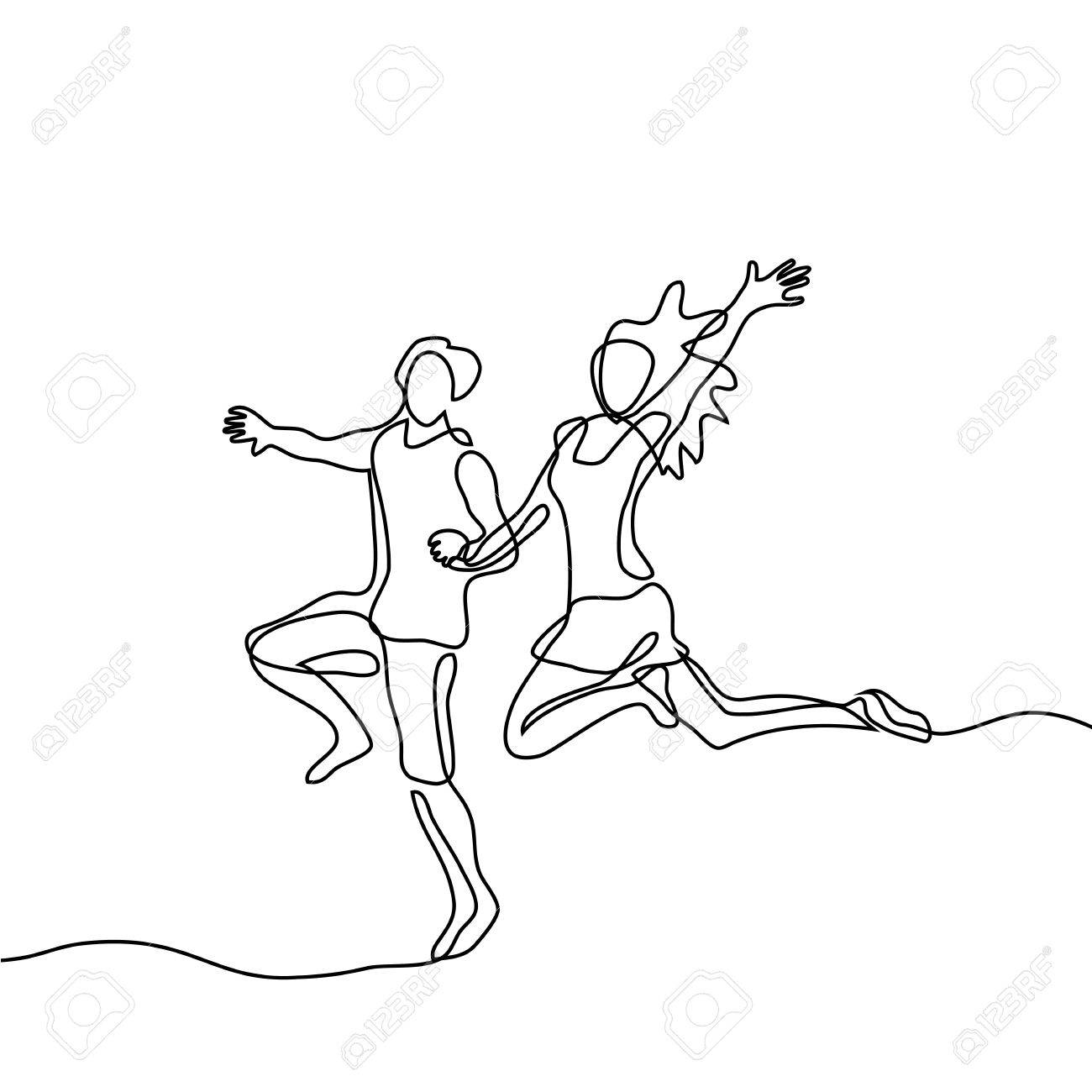 1300x1300 Happy Jumping Couple. Continuous Line Drawing. Vector Illustration