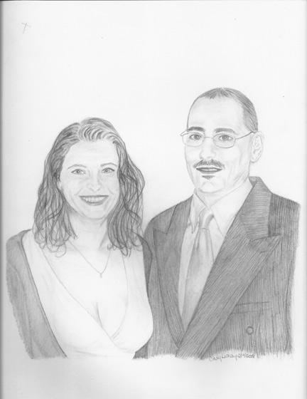 432x560 Happy Couple In A Sketch.