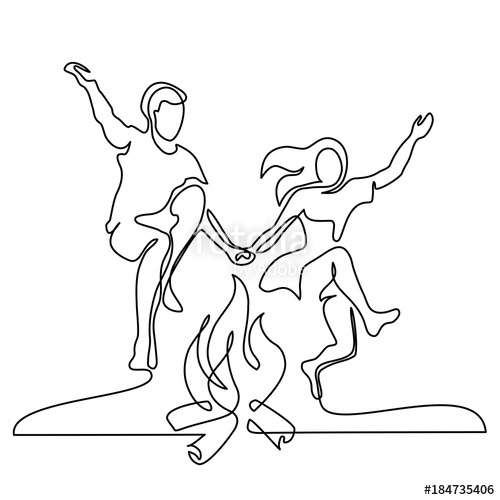 500x500 Happy Couple Jumping Over A Fire. Continuous Line Drawing. Vector