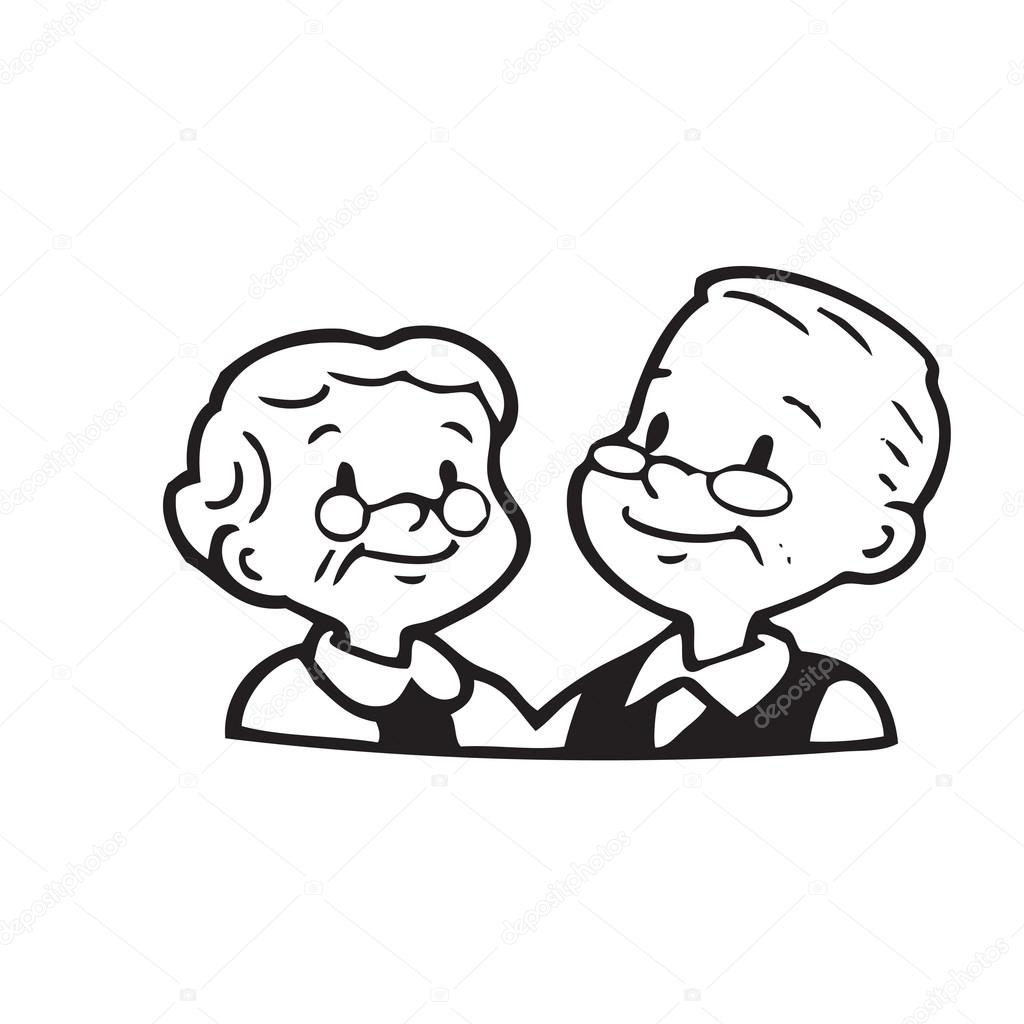 1024x1024 Happy Old Couple Of Frame On White Background Stock Vector