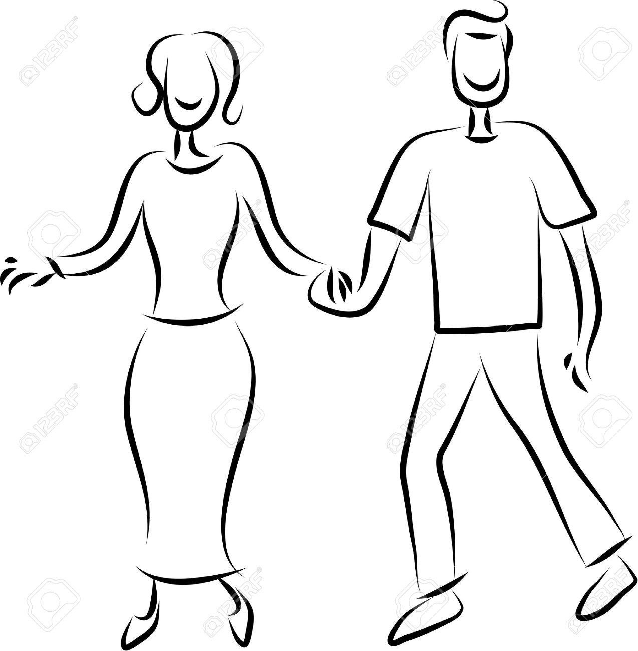 1274x1300 Line Drawing Of A Happy Couple Holding Hands Stock Photo, Picture
