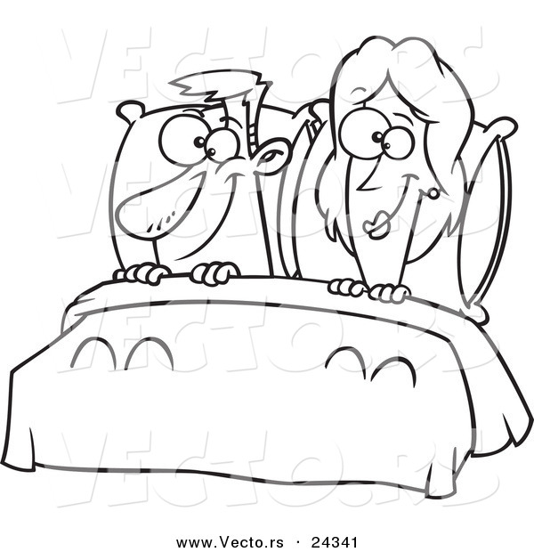 600x620 Vector Of A Cartoon Happy Couple In Bed