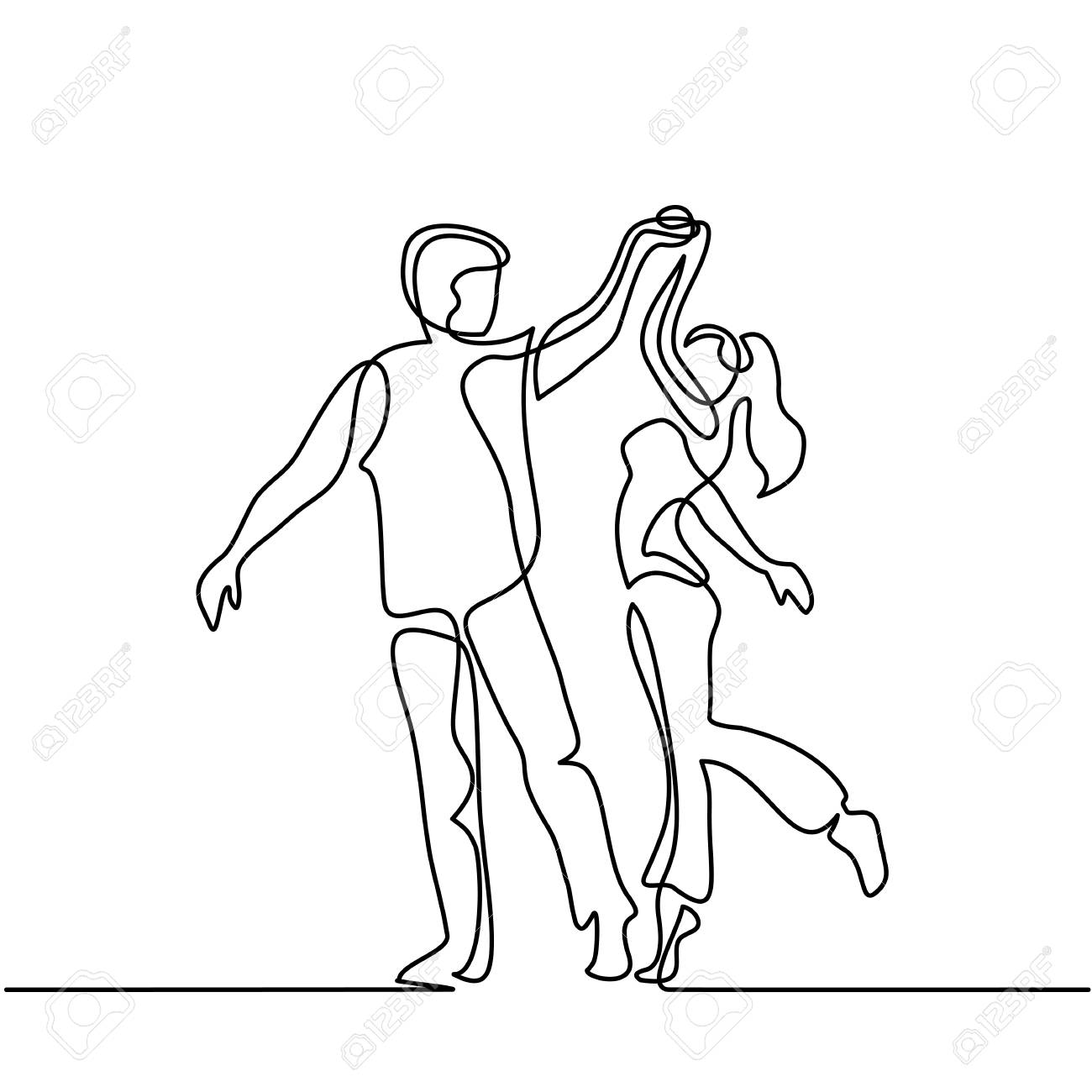 1300x1300 Continuous Line Drawing. Happy Loving Couple Dancing. Vector