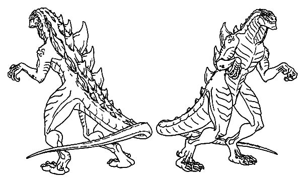 600x368 Godzilla Couple Coloring Pages Color Luna