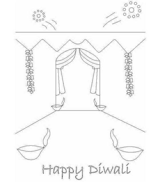 570x637 Diwali Colouring Pages