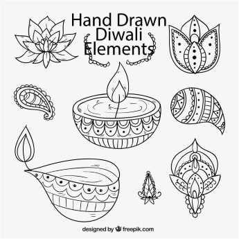 345x345 Free Vector Happy Diwali Diya Doodle