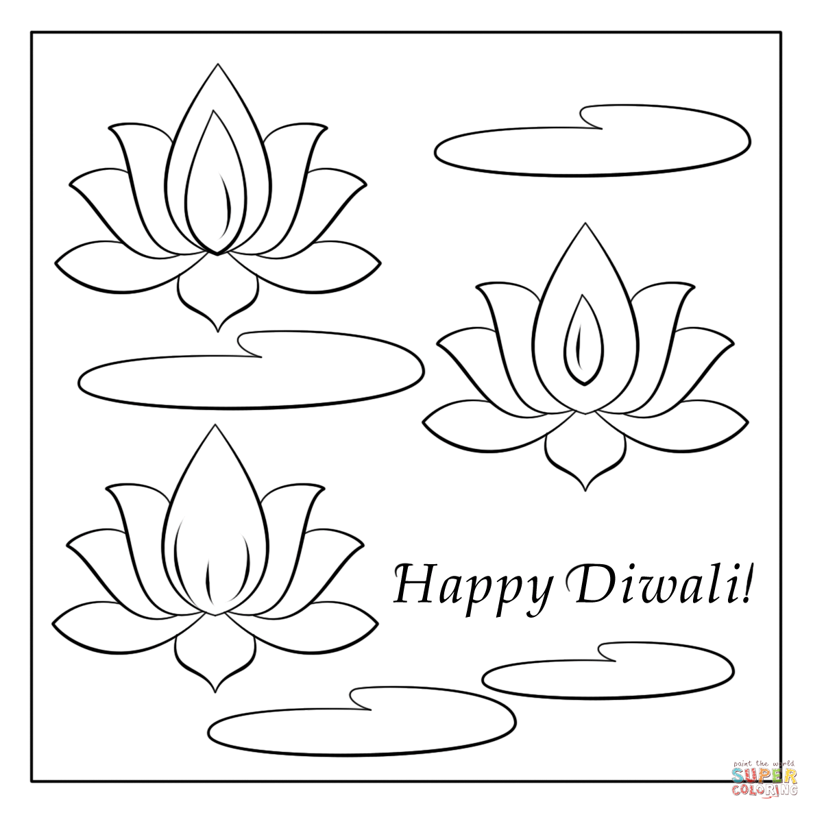 1186x1186 Happy Diwali Card Coloring Page Free Printable Pages Sketch
