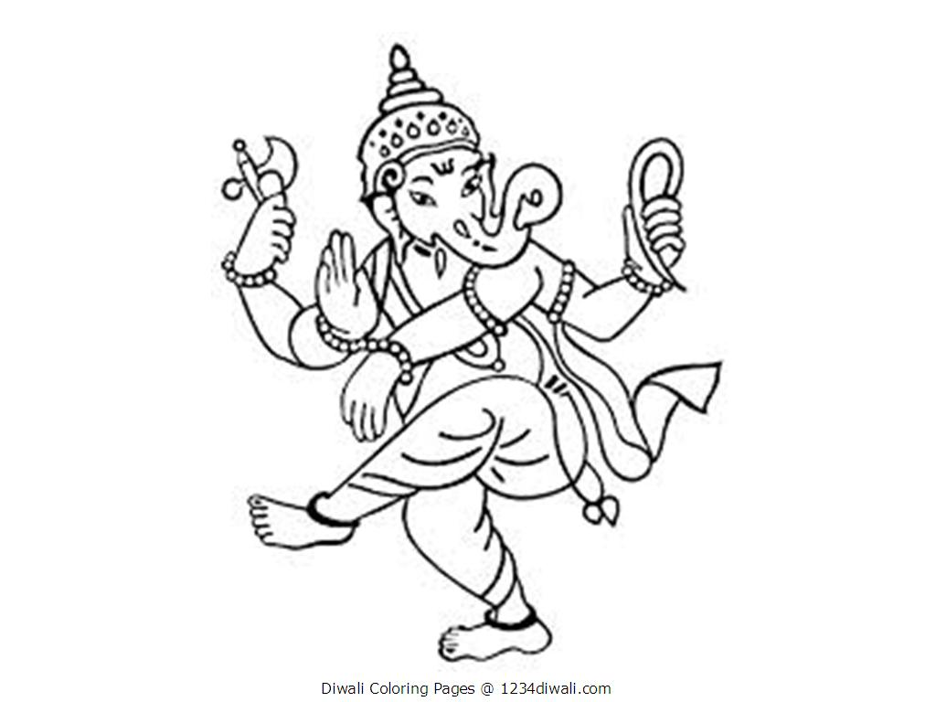 1024x768 Happy Diwali Coloring Page Free Printable Pages