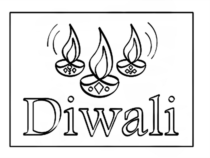 859x645 Biggest Collection Of Beautiful Happy Diwali Coloring Pages