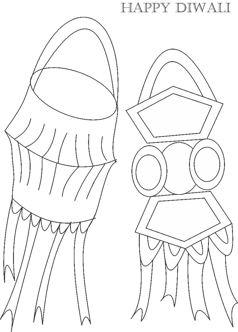 802x1118 Decorative Items Of Diwali Coloring Page