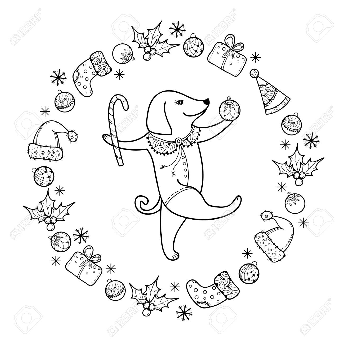 1300x1300 Greeting With Outline Happy Dog With Christmas Cane In Black