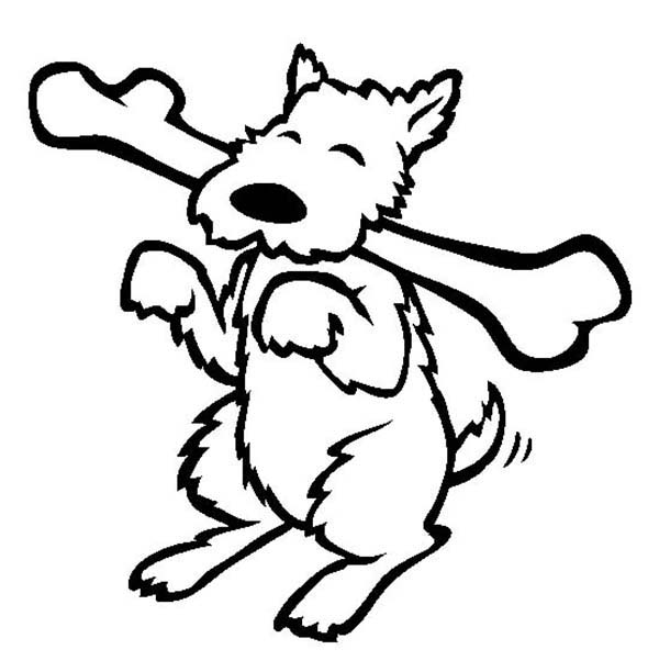 600x612 Happy Dog Eating Long Bone Coloring Page Color Luna