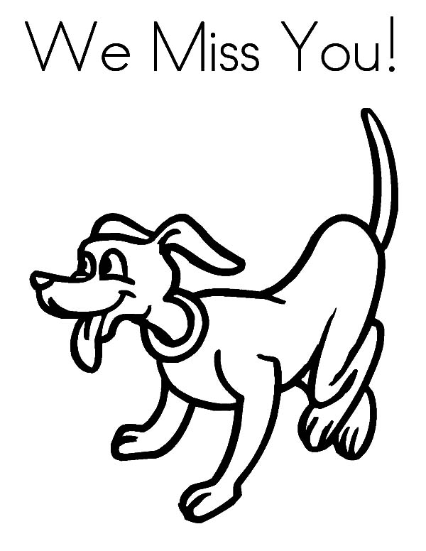 600x776 Happy Dog Shaking Its Tail I Miss You Coloring Pages Batch Coloring