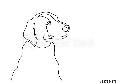 500x354 Continuous Line Drawing Of Happy Dog Portrait