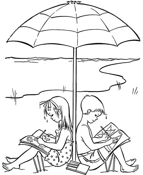 600x734 A Happy Drawing On Beach Holiday Coloring Page