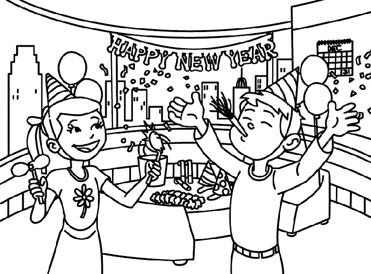 762x564 Happy New Year Drawing For Kids Merry Christmas And Happy New