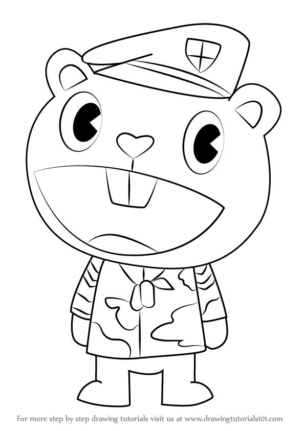 596x843 Learn How To Draw Flippy From Happy Tree Friends (Happy Tree