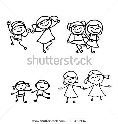 450x470 Hand Drawing Cartoon Character Happy Kids Playing Happy