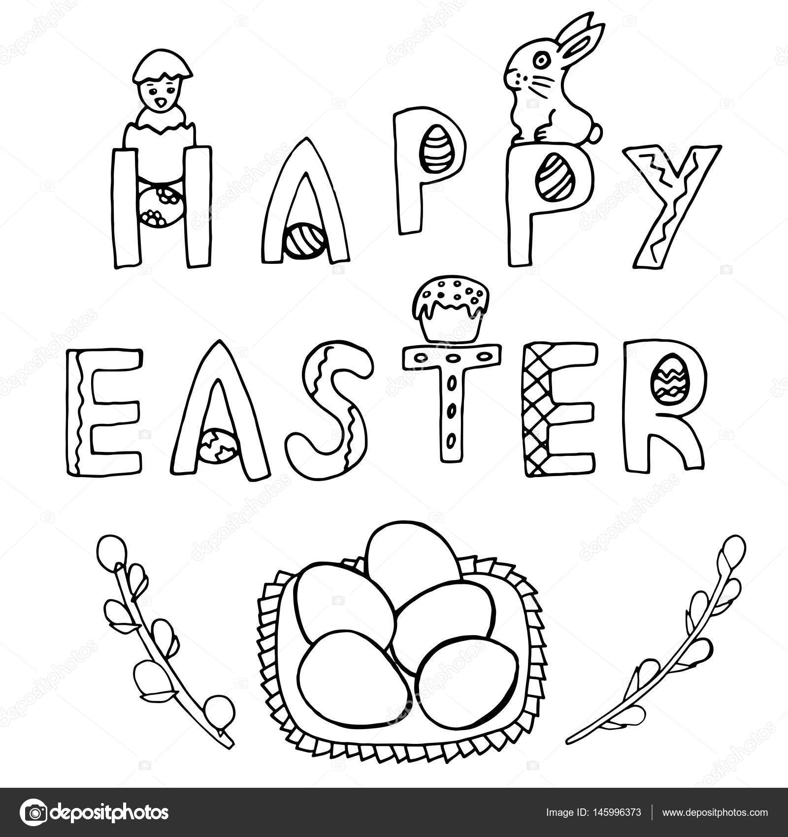 1600x1700 Happy Easter Hand Drawing Banner Stock Vector Insomnia Sky