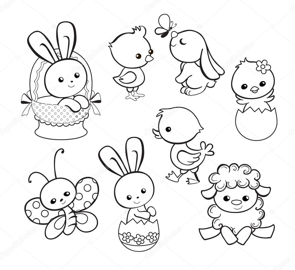 1024x939 Happy Easter Holiday Illustration With Cute Chicken, Bunny, Duck