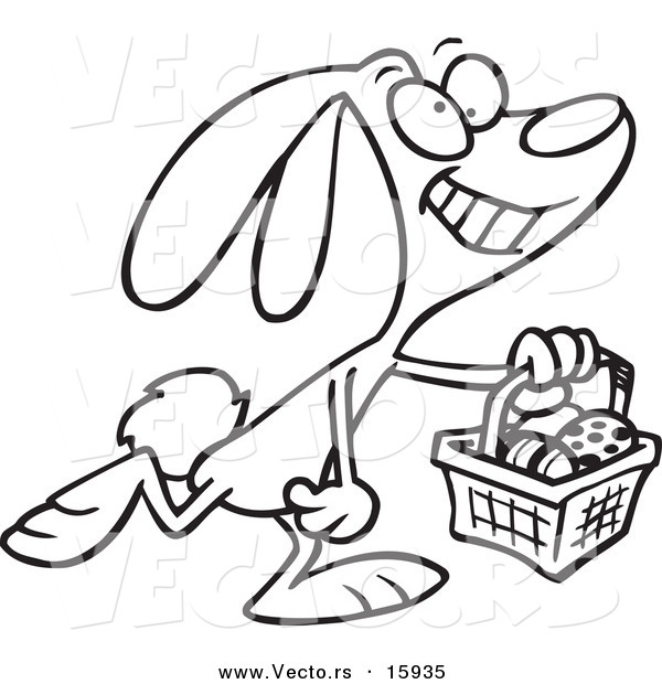 600x620 Vector Of A Cartoon Happy Easter Bunny Carrying A Basket