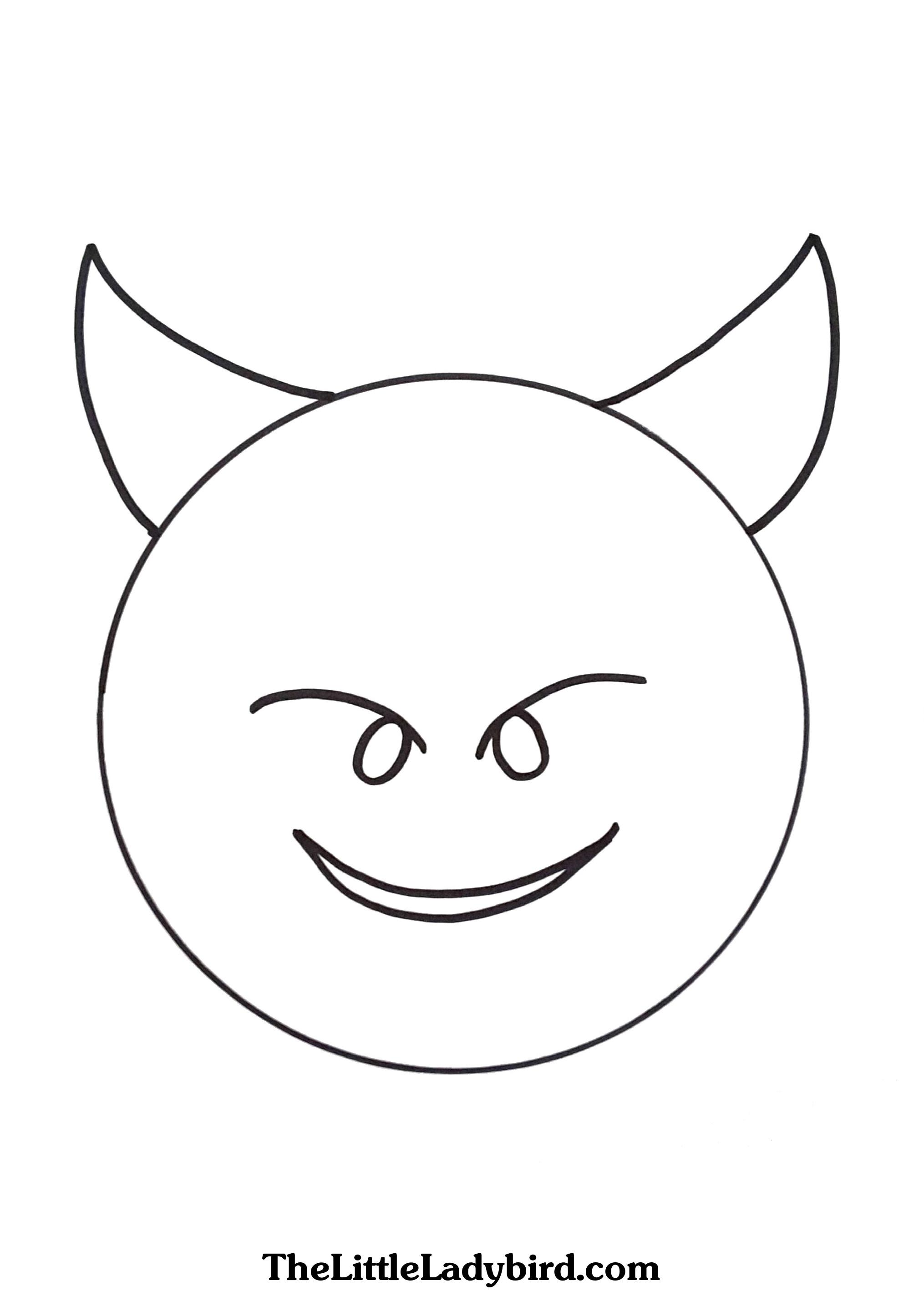 2030x2834 Free Happy Devil With Corns Emoji Coloring Page