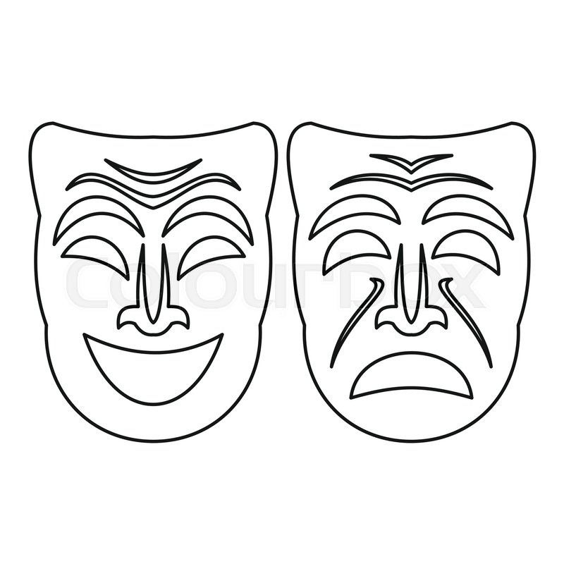 800x800 Happy And Sad Mask Icon. Outline Illustration Of Happy And Sad