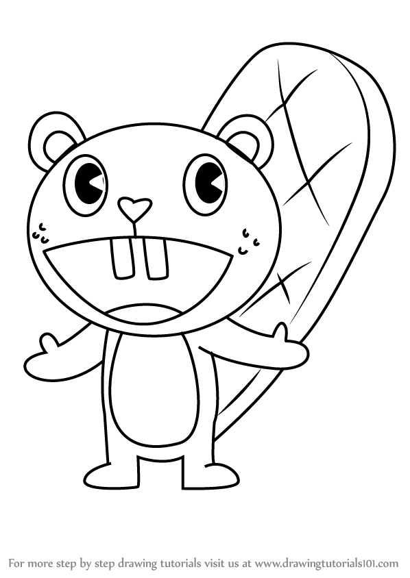 598x844 Learn How To Draw Toothy From Happy Tree Friends (Happy Tree