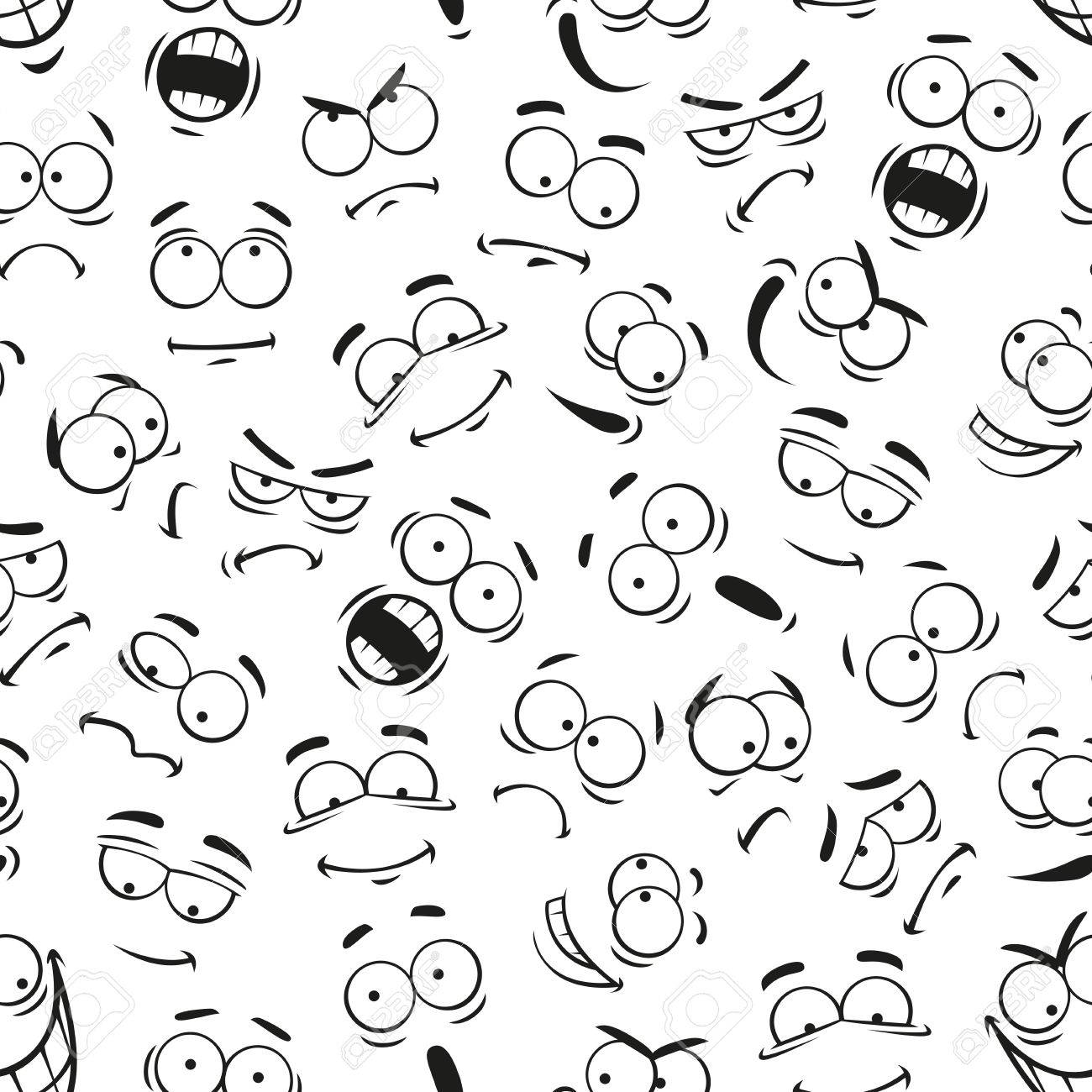 1300x1300 Human Face Expresions Pattern. Vector Pattern Of Cartoon Faces