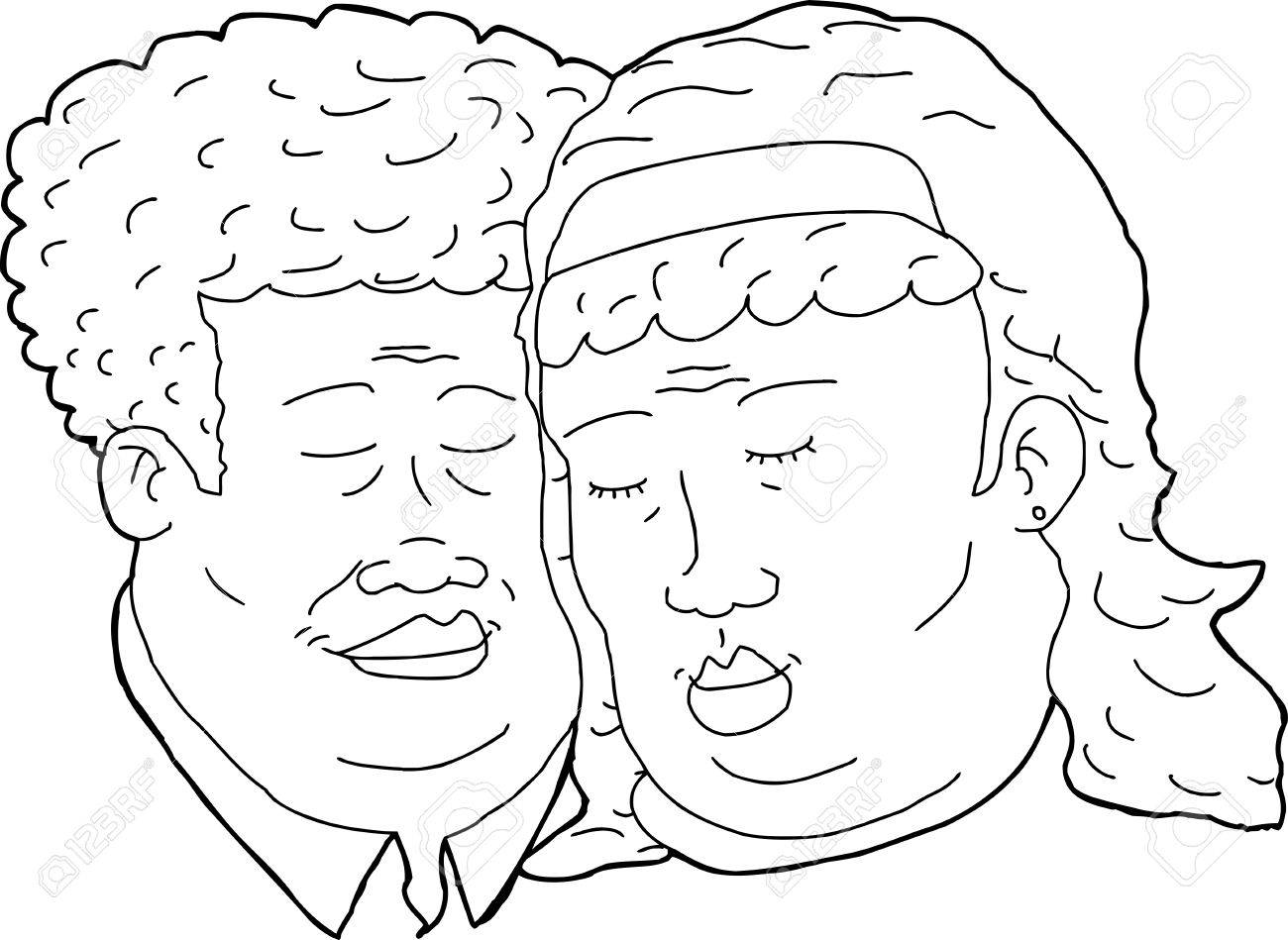 1300x949 Outline Cartoon Of Happy African Couple With Eyes Closed Royalty