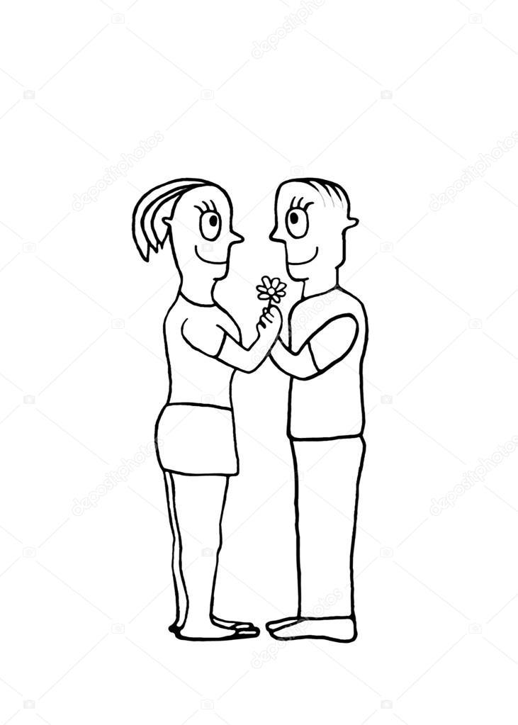 731x1023 Black And White Drawing Couple In Love Concept Stock Photo