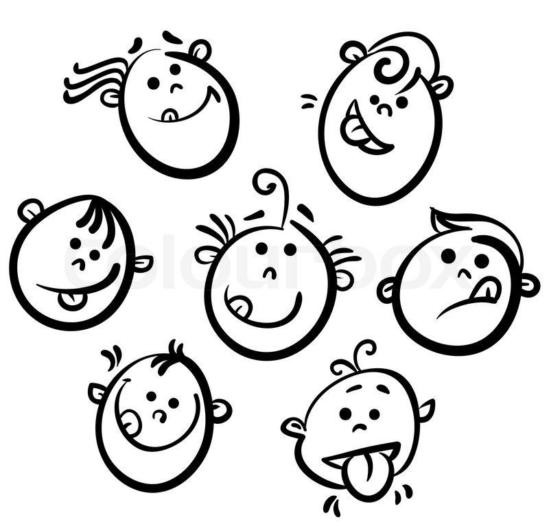 800x767 Kid Face Cartoon Icons Stock Vector Colourbox
