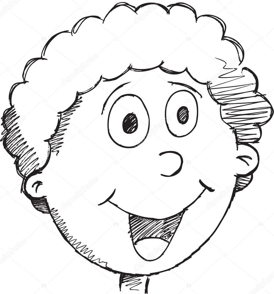 955x1024 Sketch Doodle Drawing Happy Face Vector Art Stock Vector