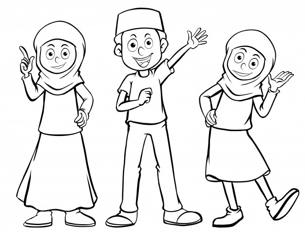 626x476 Three Muslim Characters With Happy Face Vector Free Download