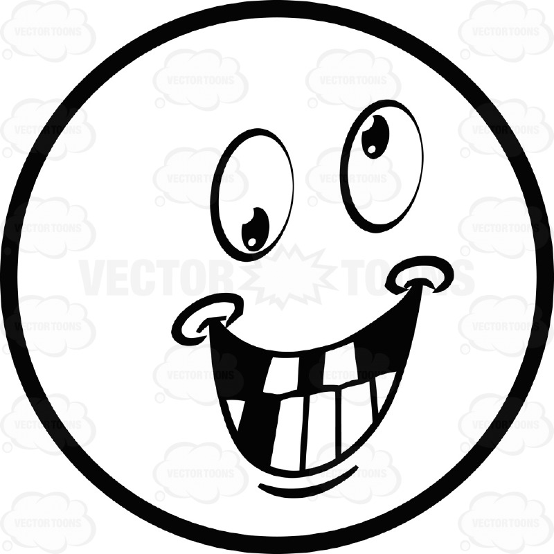 800x800 Crazy Large Eyed Black And White Smiley Face Emoticon Grinning